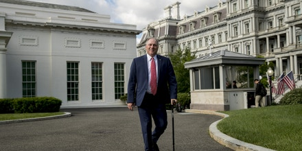 House Minority Whip Steve Scalise, R-La., walks past the West Wing on his way to a television interview on the North Lawn of the White House, Tuesday, May 14, 2019, in Washington. (AP Photo/Andrew Harnik)