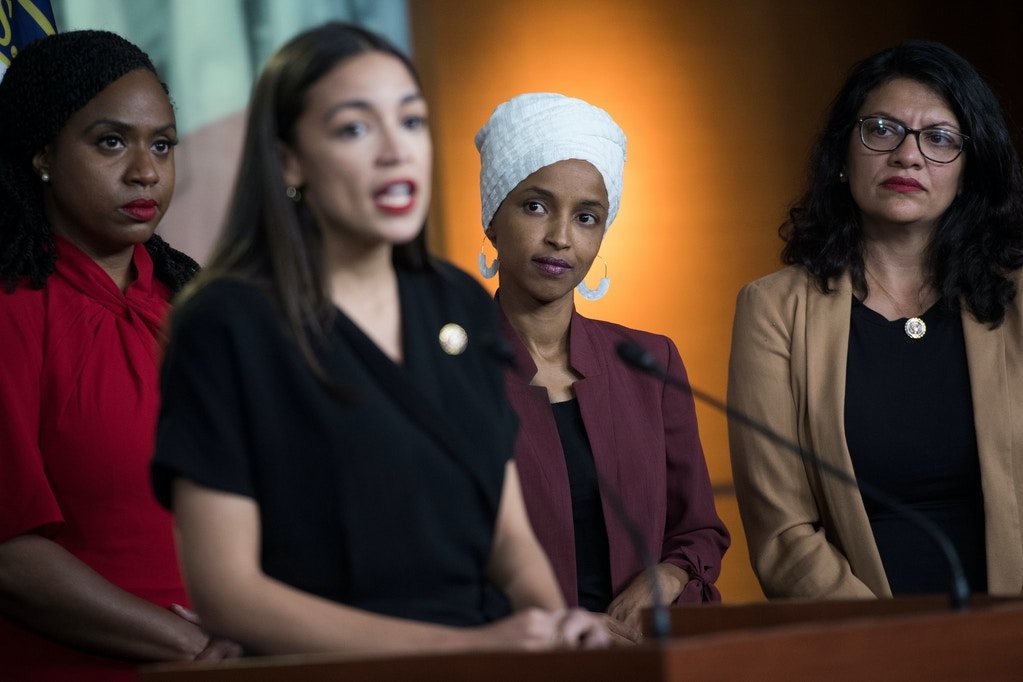 UNITED STATES - JULY 15: From left, Reps. Ayanna Pressley, D-Mass., Alexandria Ocasio-Cortez, D-N.Y., Ilhan Omar, D-Minn., and Rashida Tlaib, D-Mich., conduct a news conference in the Capitol Visitor Center responding to negative comments by President Trump that were directed the freshmen House Democrats on Monday, July 15, 2019. (Photo By Tom Williams/CQ Roll Call via AP Images)