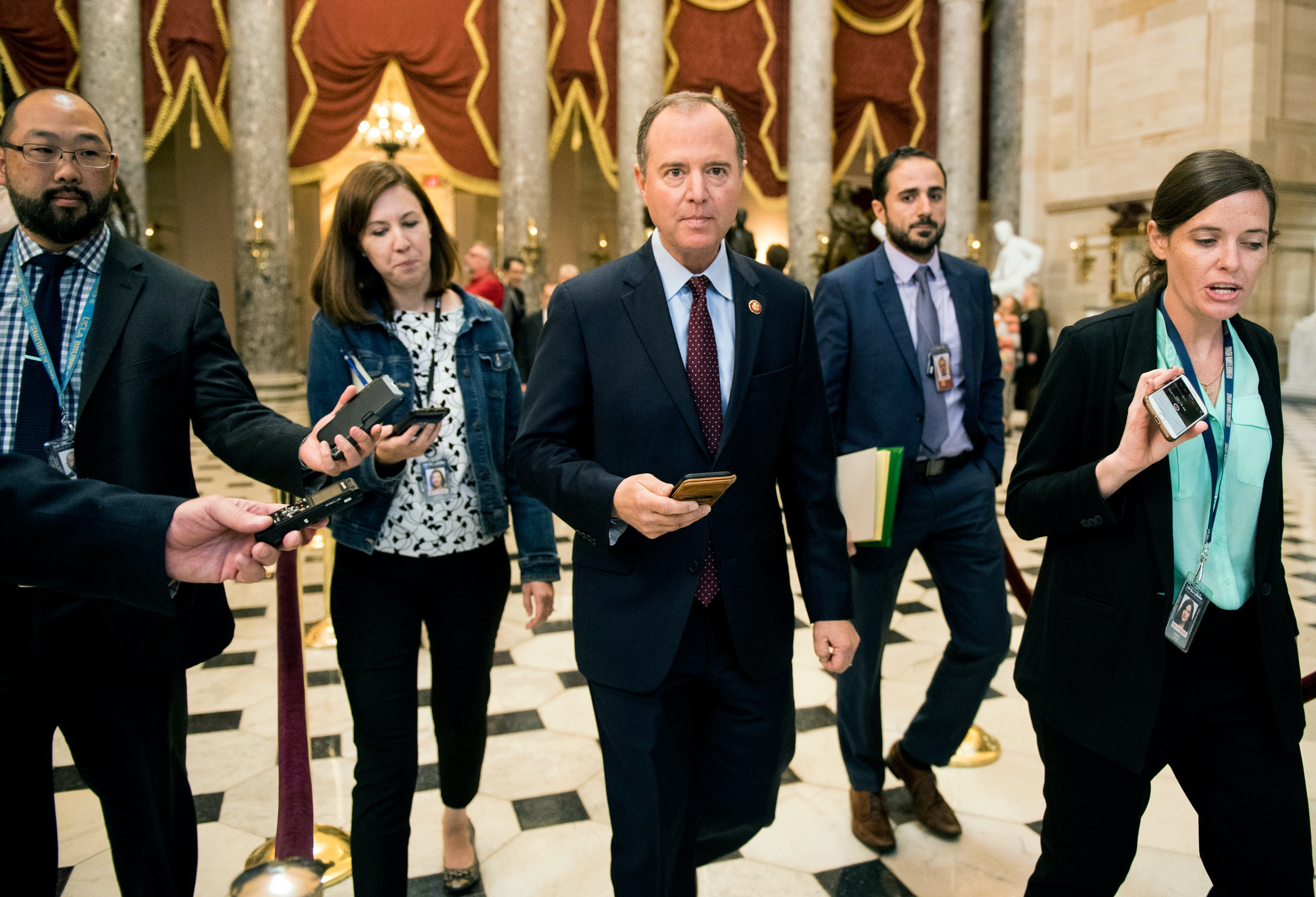 UNITED STATES - SEPTEMBER 24: House Intelligence Committee chairman Adam Schiff, D-Calif., arrives for a meeting of the House chairmen to discuss impeachment in Speaker Pelosi's office on Tuesday, Sept. 24, 2019. (Photo By Bill Clark/CQ Roll Call via AP Images)