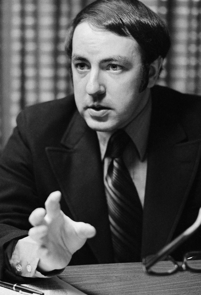 "Roger Ailes, shown in his office, May 18, 1971, New York. Ailes devised the highly successful ""man in the arena"" televisions appearances for President Nixon in 1968. He believes that when the time comes he will be asked to resume full-time duties as Nixon's television consultant in the 1972 campaign. Meanwhile, he remains a part-time consultant to the President for special projects, as well as having returned to television production. (AP Photo/Jerry Mosey)"