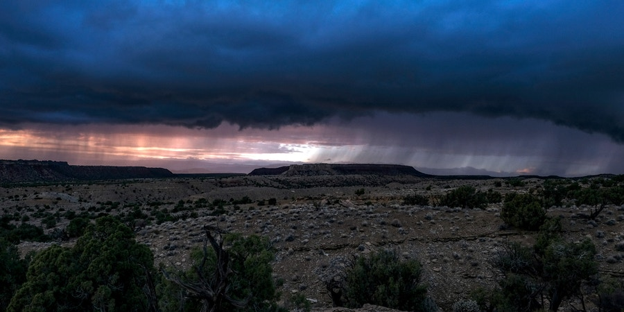 GARFIELD COUNTY, UT - OCTOBER 11: Cloud cover and rainfall in the Circle Cliffs region, an area removed from Grand Staircase - Escalante National Monument, in Garfield County, Utah on October 11, 2018.  (Photo by Bonnie Jo Mount/The Washington Post via Getty Images)