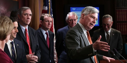 Senate Democrats hold a news conference on March 27, 2019 to announce a new Special Committee on Climate Change at the Capitol in Washington, DC.