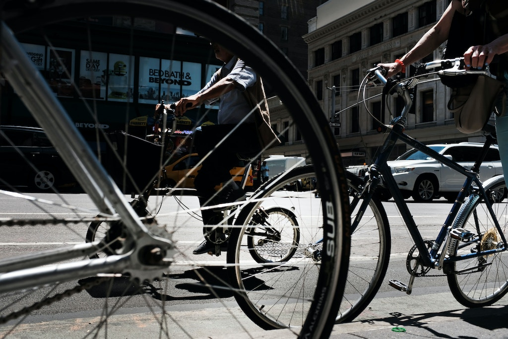 NEW YORK, NEW YORK - JULY 01: A cyclist rides along a Manhattan street on July 01, 2019 in New York City. As the nation's largest city tries to balance an increasing number of bicyclists along its streets, the numbers of bike riders killed and injured continues to rise. Last Monday Robyn Hightman, 20, became the 12th cyclist killed on New York City streets in 2019; 10 were killed in 2018.  (Photo by Spencer Platt/Getty Images)