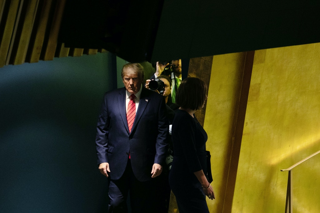 "U.S. President Donald Trump arrives to speak during the UN General Assembly meeting in New York, U.S., on Tuesday, Sept. 24, 2019. Trump said that no country should subsidize Iran's ""bloodlust"" and warned the Islamic Republic to stop threatening other nations. Photographer: Jeenah Moon/Bloomberg via Getty Images"
