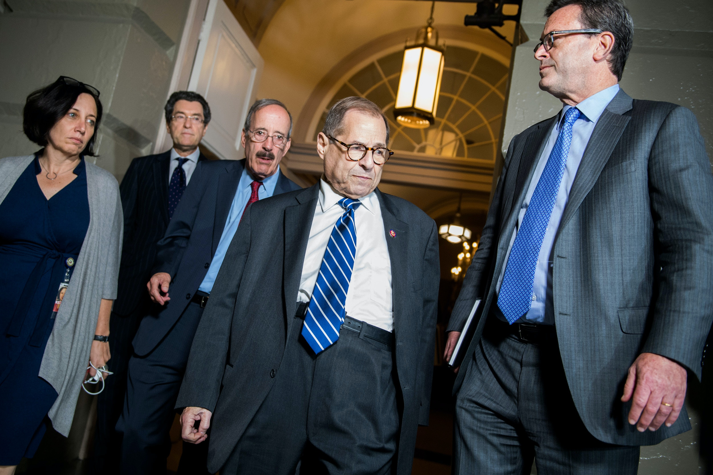 UNITED STATES - SEPTEMBER 24: House Judiciary Chairman Jerrold Nadler, D-N.Y., and Foreign Affairs Chairman Eliot Engel, D-N.Y., arrive for a meeting with the House Democratic Caucus about an impeachment inquiry of President Trump in the Capitol on Tuesday, September 24, 2019. Committee counsels Norm Eisen, second from left, and Barry Berke, right, also appear. (Photo By Tom William/CQ-Roll Call, Inc via Getty Images)