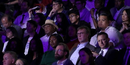 Members of the audience watch the Democratic presidential debate at Texas Southern University in Houston, Texas, on Sept. 12, 2019.