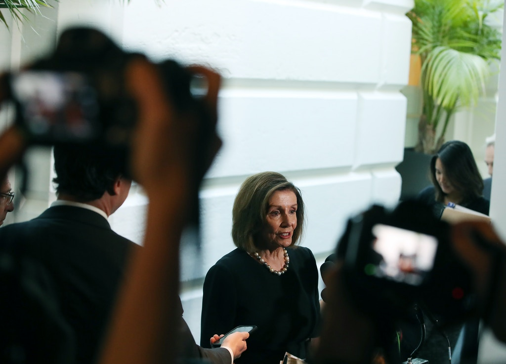 WASHINGTON, DC - SEPTEMBER 25: Speaker of the House Nancy Pelosi (D-CA) speaks to the media after a meeting with the House Democratic caucus one day after she announced that House Democrats will start an impeachment injury of U.S. President Donald Trump, on September 25, 2019 in Washington, DC. Yesterday Pelosi announced a formal impeachment inquiry after allegations that President Donald Trump sought to pressure the president of Ukraine to investigate leading Democratic presidential contender, former Vice President Joe Biden and his son, which was the subject of a reported whistle-blower complaint that the Trump administration has withheld from Congress. (Photo by Mark Wilson/Getty Images)