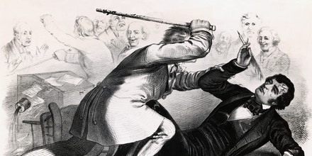 A political cartoon showing South Carolina Representative Preston Brooks beating abolitionist and Massachusetts Senator Charles Sumner in the Senate chamber, after Brooks accused Sumner of insulting his uncle, Senator Andrew Butler, in an anti-slavery speech.