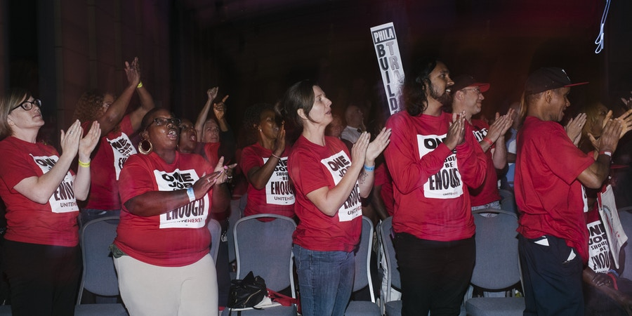 UniteHere Local 274 union members cheer after presidential candidate Bernie Sanders finished speaking at the WorkersÕ Presidential Summit in Philadelphia, PA on Tuesday, September 17, 2019. The primary focus was on how the presidential candidates would support unions and their workers.Hannah Yoon for The Intercept