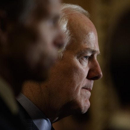 Sen. John Cornyn (R-Texas) speaks to reporters on Capitol Hill in Washington, March 6, 2018. The Senate took a big step toward approving the first significant legislation to relax some post-crisis financial rules on Tuesday. (Tom Brenner/The New York Times)