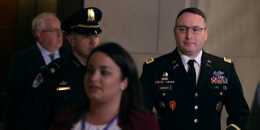 WASHINGTON, DC - OCTOBER 29:  Army Lieutenant Colonel Alexander Vindman, Director for European Affairs at the National Security Council, arrives at a closed session before the House Intelligence, Foreign Affairs and Oversight committees October 29, 2019 at the U.S. Capitol in Washington, DC. Vindman was on Capitol Hill to testify to the committees for the ongoing impeachment inquiry against President Donald Trump.  (Photo by Alex Wong/Getty Images)