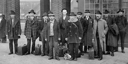 Members of the labor union Industrial Workers of the World are freed after 18 months detention at Ellis Island in 1919.