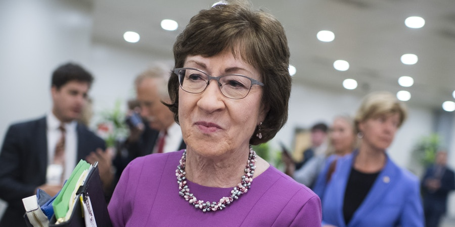 UNITED STATES - SEPTEMBER 17: Sen. Susan Collins, R-Maine, is seen in the basement of the Capitol after the Senate Republican Policy luncheon on Tuesday, September 17, 2019. (Photo By Tom Williams/CQ Roll Call via AP Images)
