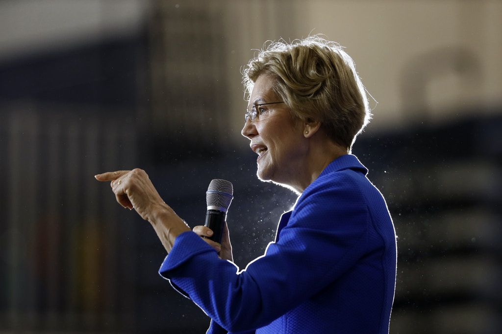 Democratic presidential candidate Sen. Elizabeth Warren, D-Mass., speaks to students and staff at Roosevelt High School, Monday, Oct. 21, 2019, in Des Moines, Iowa. (AP Photo/Charlie Neibergall)