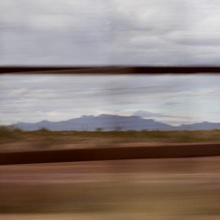 Lukeville, Ariz. September 26, 2019: The border wall flies by to the east of Lukeville, Ariz. on Thursday September 26, 2019. (Ash Ponders for The Intercept)