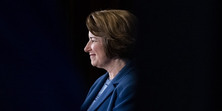 Senator Amy Klobuchar, a Democrat from Minnesota and 2020 presidential candidate, smiles before speaking during an event at the National Press Club in Washington, D.C., U.S., on Tuesday, July 16, 2019. Earlier this month Klobuchar announced a plan to increase federal funding for K-12 education and provide a federal-state funding incentive for school improvement. Photographer: Alex Edelman/Bloomberg via Getty Images