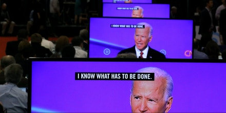 WESTERVILLE, OHIO - OCTOBER 15: Former Vice President Joe Biden appears on television screens in the Media Center during the Democratic Presidential Debate at Otterbein University on October 15, 2019 in Westerville, Ohio. A record 12 presidential hopefuls are participating in the debate hosted by CNN and The New York Times. (Photo by Chip Somodevilla/Getty Images)