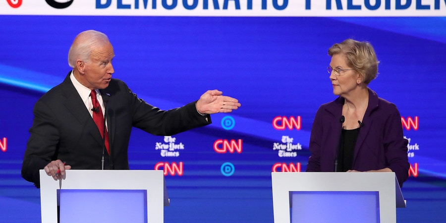 WESTERVILLE, OHIO - OCTOBER 15: Former Vice President Joe Biden challenges Sen. Elizabeth Warren (D-MA) during the Democratic Presidential Debate at Otterbein University on October 15, 2019 in Westerville, Ohio. A record 12 presidential hopefuls are participating in the debate hosted by CNN and The New York Times. (Photo by Win McNamee/Getty Images)