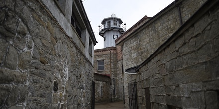 The Eastern State Penitentiary central observation tower is seen in Philadelphia, Pennsylvania April 30, 2014. Opened in 1829, with the original corrective system of