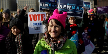 Illinois' 3rd Congressional District candidate for Congress, Marie Newman, attends the Women's March in Chicago, Illinois, U.S., January 20, 2018. Picture taken January 20, 2018. REUTERS/Joshua Lott - RC11FD1B1AD0