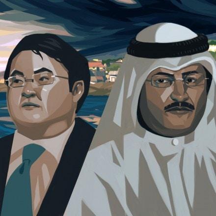 From left, Jho Low, Sheikh Sabah Jaber al-Mubarak al-Hamad al-Sabah, and Bashar Kiwan.