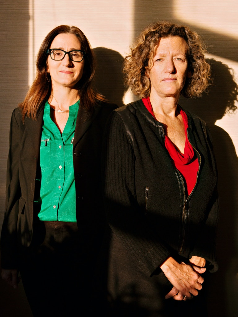 New York, New York - November 8, 2019: Portrait of lawyers Lisa Freeman and Christine Bella. CREDIT: Mary Inhea Kang for The Intercept