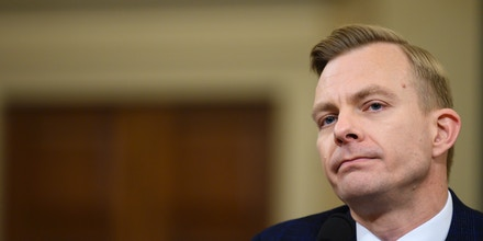 David Holmes, a State Department official stationed at the US Embassy in Ukraine testifies during the House Intelligence Committee hearing as part of the impeachment inquiry into US President Donald Trump on Capitol Hill in Washington,DC on November 21, 2019. (Photo by JIM WATSON / AFP) (Photo by JIM WATSON/AFP via Getty Images)