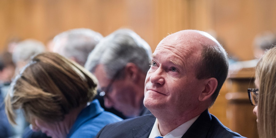 UNITED STATES - AUGUST 1: Sen. Chris Coons, D-Del., is seen during a Senate Judiciary Committee markup of the Secure and Protect Act of 2019 on August 1, 2019. (Photo By Tom Williams/CQ Roll Call via AP Images)