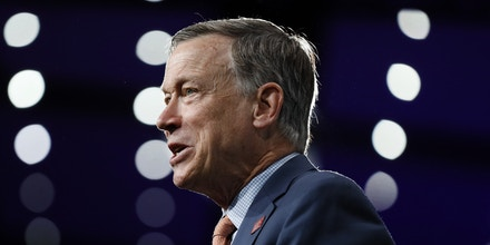 Democratic presidential candidate former Colorado Gov. John Hickenlooper speaks at the Presidential Gun Sense Forum, Saturday, Aug. 10, 2019, in Des Moines, Iowa. (AP Photo/Charlie Neibergall)