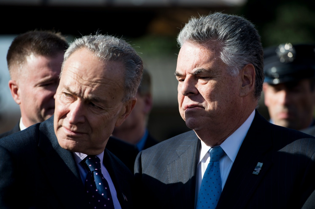 UNITED STATES - NOVEMBER 17: Sen. Chuck Schumer, D-N.Y., left, and Rep. Peter King, R-N.Y., talk during the press conference calling on passage of the James Zadroga 9/11 Health and Compensation Reauthorization Act outside the Capitol on Tuesday, Nov. 17, 2015. The bill provides an extension of healthcare benefits for all first responders affected by cancer and other chronic diseases from exposure at Ground Zero. (Photo By Bill Clark/CQ Roll Call)  (CQ Roll Call via AP Images)