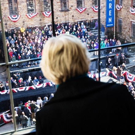 LAWRENCE, MA - FEBRUARY 09:  Sen. Elizabeth Warren (D-MA), looks down on her event before announcing her official bid for President on February 9, 2019 in Lawrence, Massachusetts. Warren announced today that she was launching her 2020 presidential campaign. (Photo by Scott Eisen/Getty Images)