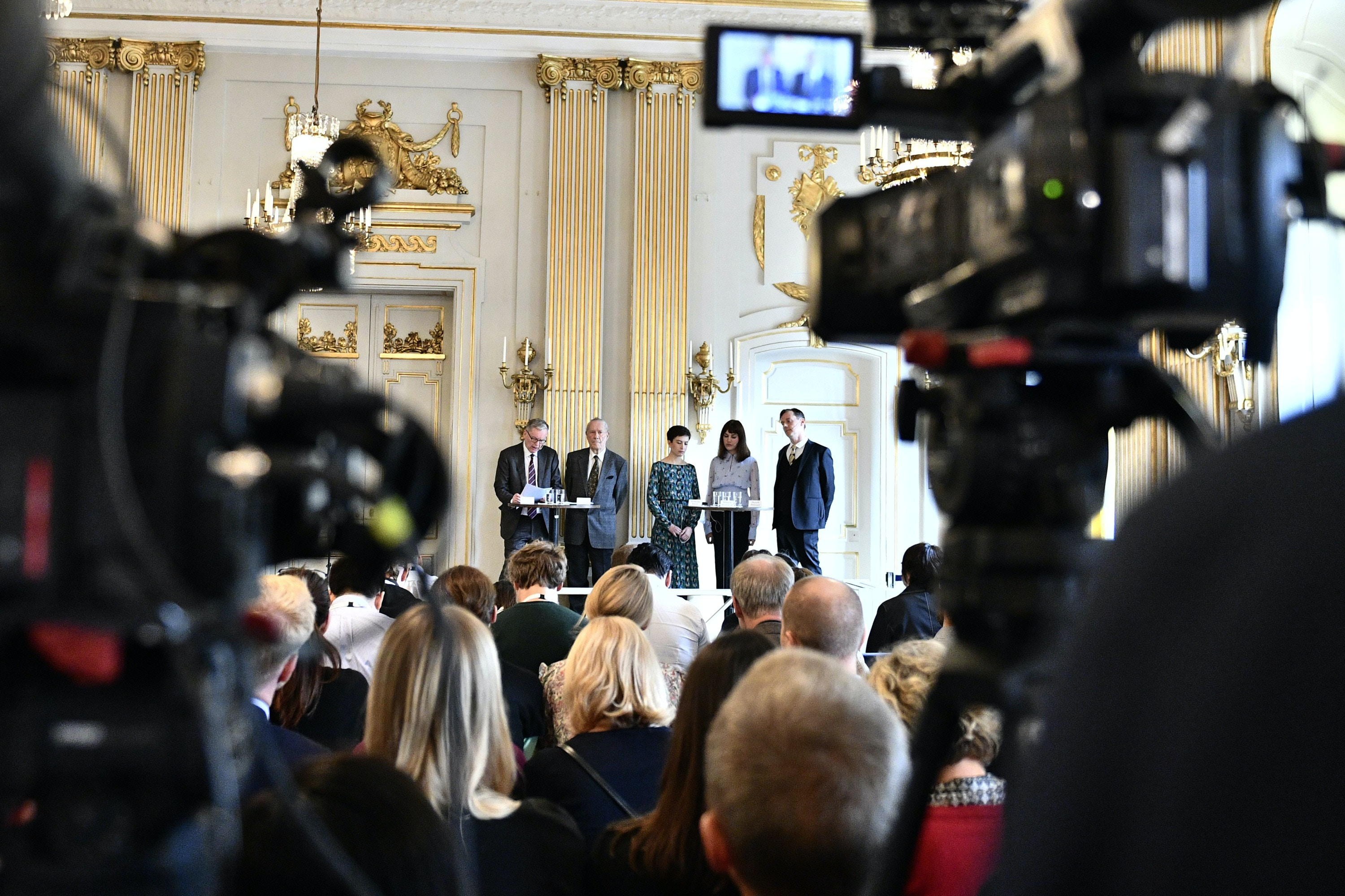Members of the Nobel Committee for Literature (L-R) Chairman Anders Olsson, Per Wastberg, Rebecka Karde, Mikaela Blomqvist and Henrik Petersen announce the winners of the 2018 and 2019 Nobel Prize in Literature at the Swedish Academy in Stockholm, Sweden on October 10, 2019. - Polish writer Olga Tokarczuk on Thursday won the 2018 Nobel Literature Prize, while Austrian novelist playwright Peter Handke won the 2019 prize, the Swedish Academy said. (Photo by Karin WESSLEN / TT News Agency / AFP) (Photo by KARIN WESSLEN/TT News Agency/AFP via Getty Images)