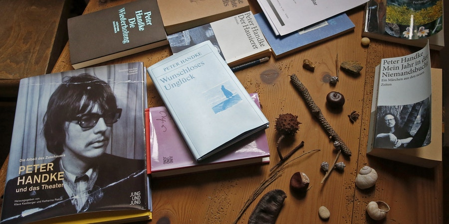 This picture shows books and objects of the permanent exhibition about the Austrian novelist and playwright Peter Handke in the museum in Griffen, Austria, on October 10, 2019. - Austrian novelist and playwright Peter Handke, who was awarded with the 2019 Nobel Literature Prize on October 10, 2019, is published by Suhrkamp in Germany. (Photo by GERT EGGENBERGER / APA / AFP) / Austria OUT (Photo by GERT EGGENBERGER/APA/AFP via Getty Images)