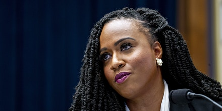 Representative Ayanna Pressley, a Democrat from Massachusetts, questions Mark Zuckerberg, chief executive officer and founder of Facebook Inc., not pictured, during a House Financial Services Committee hearing in Washington, D.C., U.S., on Wednesday, Oct. 23, 2019. Zuckerberg struggled to convince Congress of the merits of the company's plans for a cryptocurrency in light of all the other challenges the company has failed to solve. Photographer: Andrew Harrer/Bloomberg via Getty Images