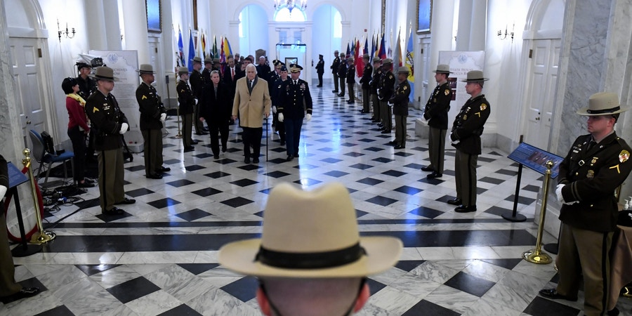 ANNAPOLIS, MD - JANUARY 16: Maryland Senate President Thomas V. Mike Miller, Jr. walks into the State House before Gov. Larry Hogan's second inauguration January 16, 2019 in Annapolis, MD. Hogan is the first Republican Governor of Maryland to be inaugurated for a second term since the 1950's when Theodore Roosevelt Keldin served two terms from Jan. 1950 to Jan. 1959. (Photo by Katherine Frey/The Washington Post via Getty Images)