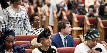 Democratic presidential candidate, South Bend, Indiana Mayor Pete Buttigieg listens to the Sunday service at the Kenneth Moore Transformation Center October 27, 2019 in Rock Hill, South Carolina. Many presidential hopefuls campaigned in the early primary state over the weekend, scheduling stops around a criminal justice forum in the state capital. (Photo by Sean Rayford/Getty Images)