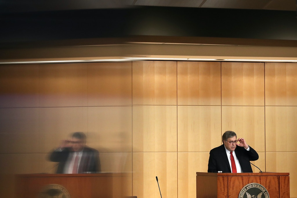 WASHINGTON, DC - OCTOBER 03: U.S. Attorney General William Barr delivers remarks during the Criminal Coordination Conference at the Securities and Exchange Commission October 03, 2019 in Washington, DC. Barr reportedly traveled to Rome last week to meet with Italian intelligence officers as part of President Donald Trump's efforts to discredit the investigation into Russian meddling in the 2016 United States election. (Photo by Chip Somodevilla/Getty Images)