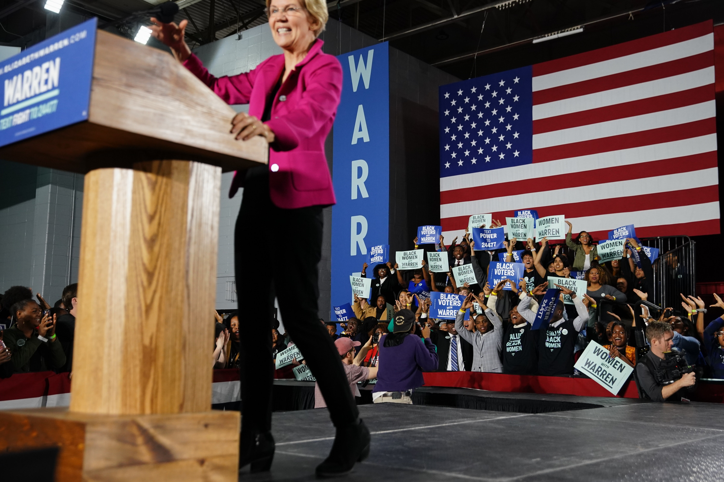 ATLANTA, GA - NOVEMBER 21: Democratic presidential candidate Sen. Elizabeth Warren (D-MA), arrives on stage at a campaign event at Clark Atlanta University on November 21, 2019 in Atlanta, Georgia. Warren, introduced by U.S. Rep. Ayanna Pressley (D-MA), spoke about workers' rights, fighting voter suppression and the accomplishments of Black women activists. (Photo by Elijah Nouvelage/Getty Images)