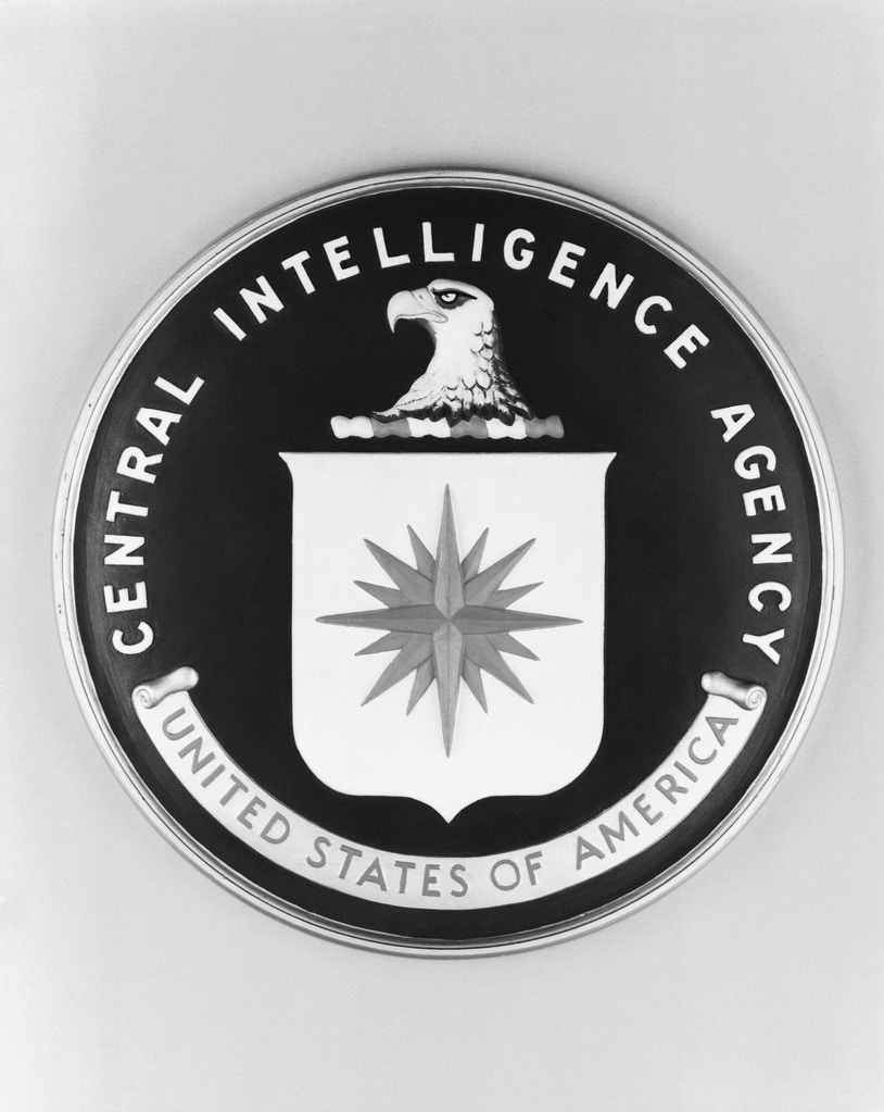 1974-ORIGINAL CAPTION READS:  Close-up of the official seal of the Central Intelligence Agency (CIA).