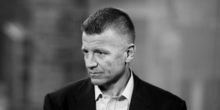 Erik Prince, chairman of Frontier Services Group Ltd., speaks during a Bloomberg Television interview in Hong Kong, China, on Thursday, March 16, 2017. A former U.S. Navy SEAL, Prince is best known for his role running Blackwater Security. Photographer: Justin Chin/Bloomberg via Getty Images