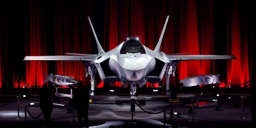 TEXAS, USA - JUNE 21: A F-35 fighter jet is seen as Turkey takes delivery of its first F-35 fighter jet with a ceremony at the Lockheed Martin in Forth Worth, Texas, United States on June 21, 2018. (Photo by Atilgan Ozdil/Anadolu Agency/Getty Images)