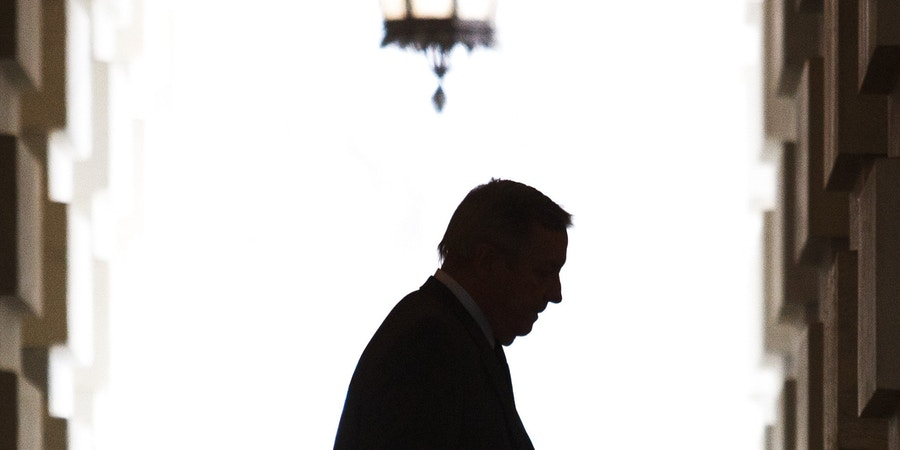 Sen. Dick Durbin (D-Ill.) heads to a meeting at the White House in Washington, Jan. 2, 2019.  President Donald Trump was set for a first face-to-face meeting with Democratic leaders since saying that he would proudly own the consequences of a government shutdown. (Tom Brenner/The New York Times)