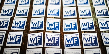 FILE -- Lapel pins are displayed at a Working Families Party event in Brooklyn, on July 17, 2018. The Working Families Party and its supporters see the new proposal by Jay Jacobs, chairman of the New York State Democratic Party, to quintuple the number of votes that a political party needs to secure a ballot line as the latest attempt to silence all third parties in New York. (Marian Carrasquero/The New York Times)