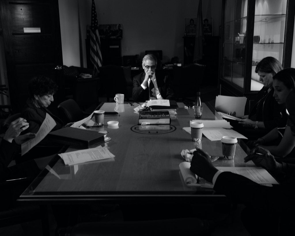 Philadelphia, PA - October 17, 2018: Larry Kranser, the current Philadelphia's District Attorney, speaks to his staff during a meeting with his staff about juvenile prosecution on October 17, 2018. In November 2017, Philadelphia elected Larry Krasner, a progressive civil rights lawyer, as District Attorney. During his first year in office he quickly became the model for a new type of progressive prosecution, advertising unwavering platforms of change. He found himself at odds with the Philadelphia Police Department, judges, Republican legislature and even his own attorneys, ushering in a new age of criminal justice reform in Philadelphia -- a city that not long ago had the highest rates of incarceration per capita amongst the 10 largest cities in the US. Photo: Christopher Lee / VII Mentor Program