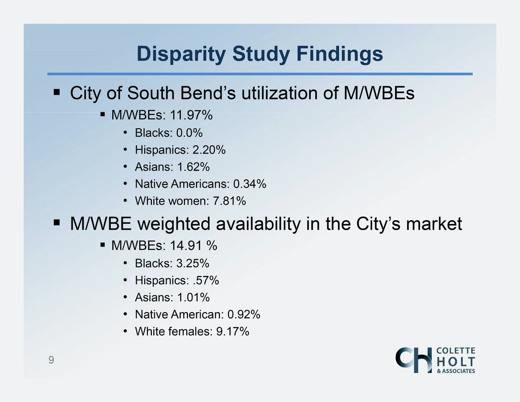 Microsoft PowerPoint - City of South Bend Disparity Study Public