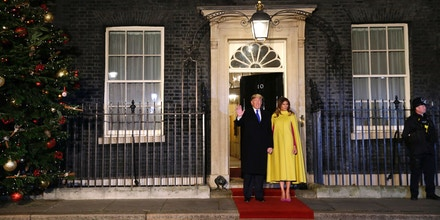 US President Donald Trump and first lady Melania arrive at 10 Downing Street in central London on December 3, 2019, to attend a reception hosted by Britain's Prime Minister Boris Johnson ahead of the NATO alliance summit. - NATO leaders gather Tuesday for a summit to mark the alliance's 70th anniversary but with leaders feuding and name-calling over money and strategy, the mood is far from festive. (Photo by Alastair Grant / POOL / AFP) (Photo by ALASTAIR GRANT/POOL/AFP via Getty Images)