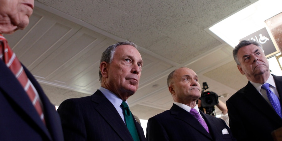 From left, Sen. Frank Lautenberg, D-N.J., New York Mayor Michael Bloomberg, New York Police Commissioner Ray Kelly, and Rep. Peter King, R-N.Y., answer questions on Capitol Hill in Washington, Wednesday, May 5, 2010, after they testified before the Senate Homeland Security and Government Affairs Committee. (AP Photo/Pablo Martinez Monsivais)