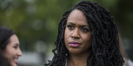 WASHINGTON, DC - SEPTEMBER 26: U.S. Rep. Ayanna Pressley (D-MA) waits to speak at a rally hosted by Progressive Democrats of America on Capitol Hill on September 26, 2019 in Washington, DC. House Speaker Nancy Pelosi (D-CA) announced yesterday the beginning of a formal impeachment inquiry against President Donald Trump.  (Photo by Zach Gibson/Getty Images)
