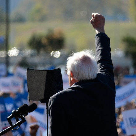 Sen. Bernie Sanders of Vermont speaks on stage after receiving the endorsement of Alexandria Ocasio-Cortez during a Bernies Back rally in Queens, NY, on October 19, 2019. (Photo by Bastiaan Slabbers/NurPhoto via Getty Images)
