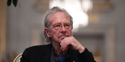 Austrian writer Peter Handke, Nobel Prize Literature laureate 2019, gives a press conference at the Swedish Academy in Stockholm, Sweden, on December 6, 2019. (Photo by Jonathan NACKSTRAND / AFP) (Photo by JONATHAN NACKSTRAND/AFP via Getty Images)